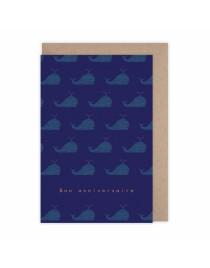 Carte anniversaire baleine bleue